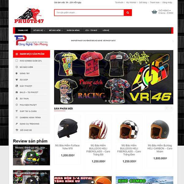 Mẫu website bán đồ phượt chất lượng cao chuẩn SEO chuyên nghiệp