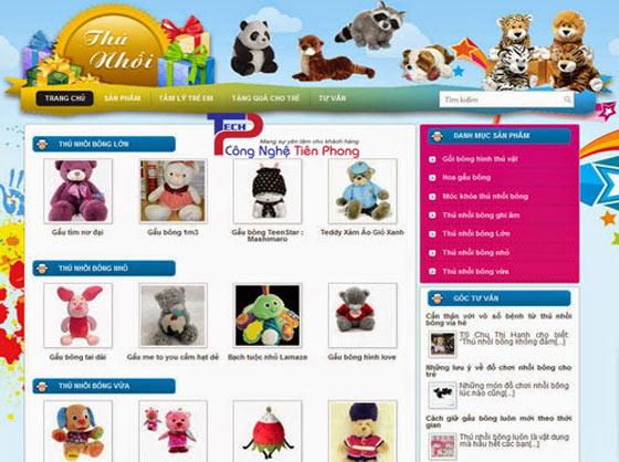 Mẫu thiết kế website cửa hàng gấu bông giá rẻ