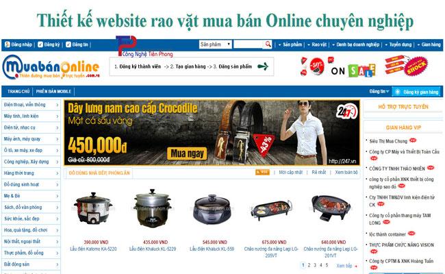 Thiết Kế Website Rao Vặt Mua Bán Online Chuyên Nghiệp Giá Rẻ