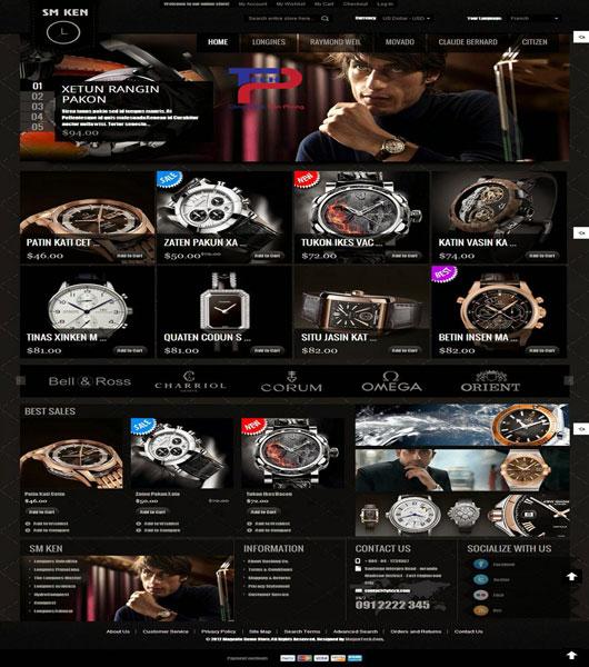 Thiết kế website bán đồng hồ cao cấp sang trọng