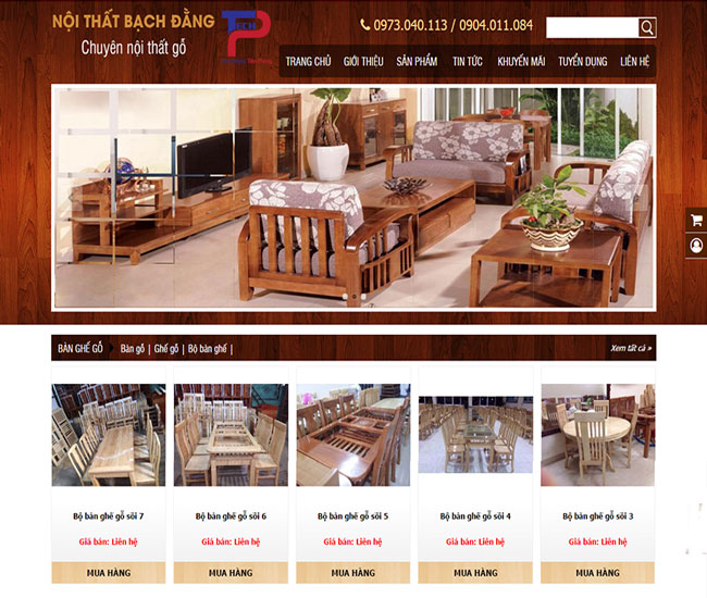 Thiết kế website bán đồ gỗ nội thất chuyên nghiệp thẩm mỹ