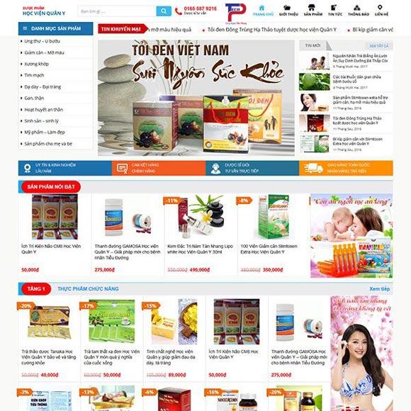 thiết kế website thực phẩm chức năng cao cấp