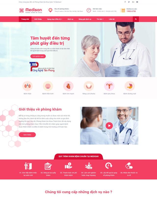 Mẫu thiết kế website giới thiệu phòng khám đẹp