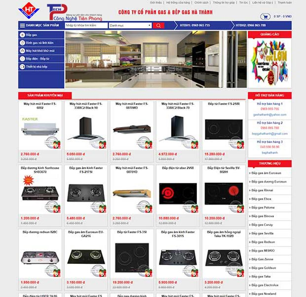 Mẫu website thiết bị nhà bếp đẹp chuẩn SEO chuyên nghiệp