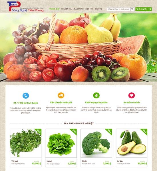 Mẫu website bán hàng trái cây hoa quả đẹp chuẩn SEO