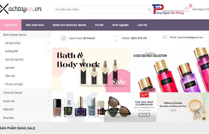Mẫu website cửa hàng bán hàng xách tay đồ order đẹp chuyên nghiệp