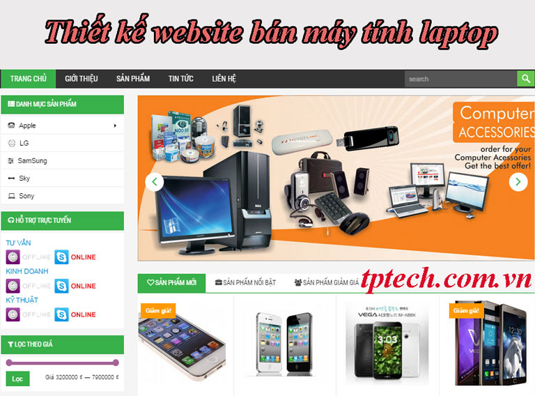 Dịch vụ thiết kế website bán máy tính laptop