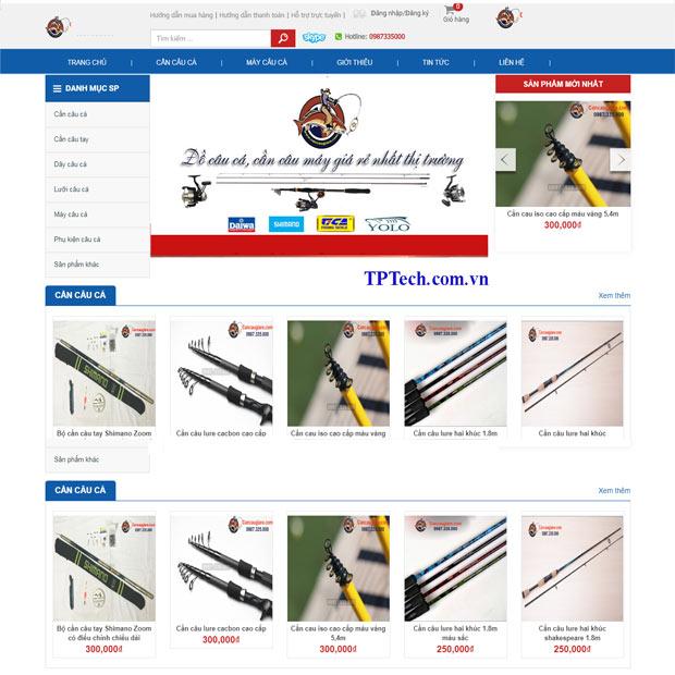 Giao diện website bán dụng cụ câu cá chuyên nghiệp
