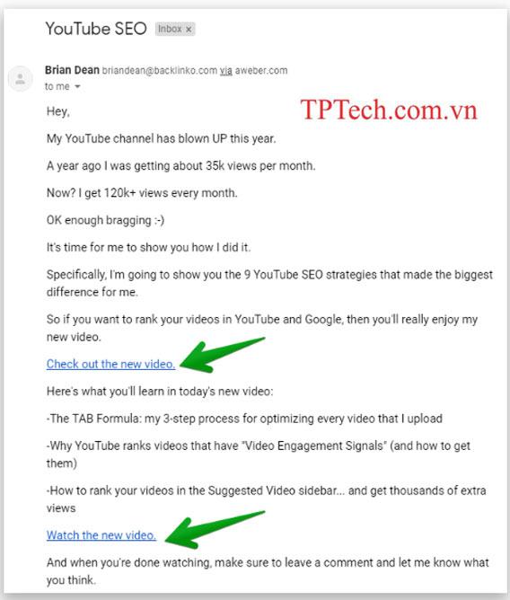 Tham khảo nội dung email SEO Youtube